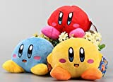 kirby blue - Kirby Rainbow Blue Red Yellow Set of 3 pcs Soft Plush Figure Toy Anime Stuffed Animal Child Gift Doll