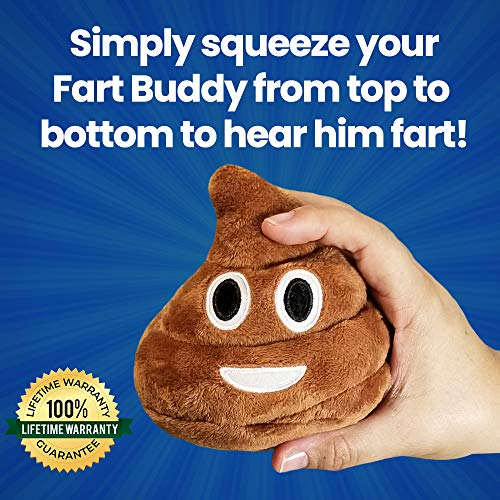 Poop Emoji Farting Plush Toy - Makes 7 Funny Fart Sounds - Simply Squeeze Fart Buddy to Activate & Hear Him Fart - Fun Dog Toy - New & Improved - Louder Farts - Measures a Super Cute 4 x 4.5""