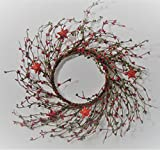 JMB Christmas Holiday Pip (Rice) Berry Tin Red Glittered Star WREATH, GARLAND CANDLE RING (Buyer Choices) (14 inch wreath)