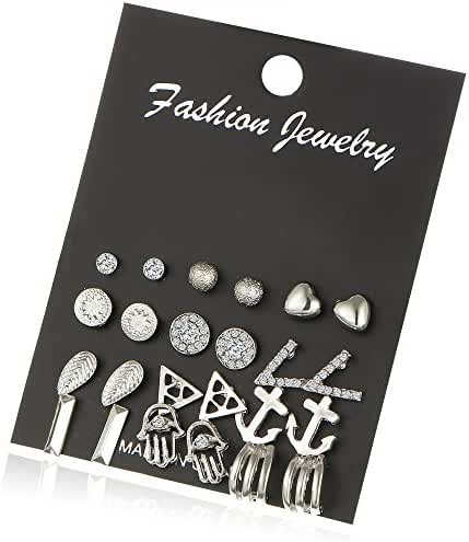 Fashion Heart Earring Set Rhinestone Geometry Leaf Anchor Earrings Jewelry Vintage Gifts Women