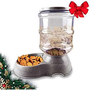 CHRISTMAS GIFT GraviPet Feeder | Superb 8.3 lbs Gray Automatic Feeding Dispenser Bowl for Dogs Cats Animals | 610.3