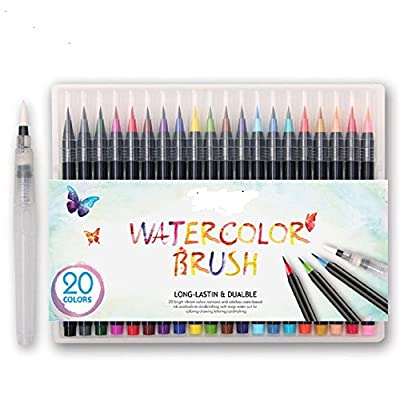 Anfanrapid 20 Color Premium Watercolor Painting Brush Marker Pens Set, Soft Flexible Tip Create Watercolor Effect - Best for Adult Coloring Books, Manga, Comic, Calligraphy
