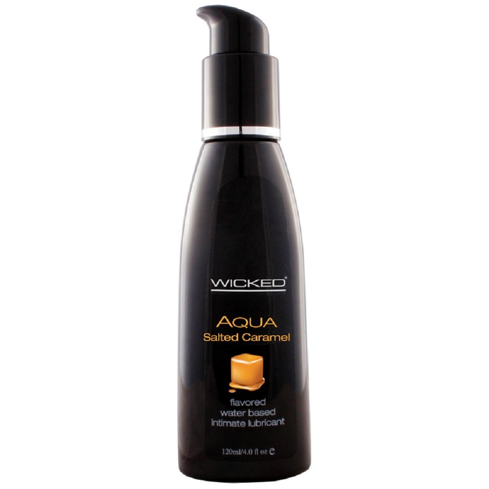 Wicked Aqua Flavored Water Based Personal Lubricant - Salted Caramel - 4 oz