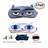 Cute Sleep Mask by Hitos | Dog and Cat Eye Mask with Gel Pad, Super Soft and Light, Cotton Smooth Sleep Mask with Adjustable Strap for Insomnia, Sleep Difficulties and Puffed Eyes (Shy Cats)