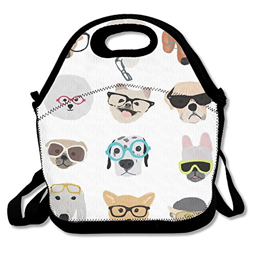 Many Dog With Sunglasses Lunch Bags Insulated Travel Picnic Lunchbox Tote Handbag With Shoulder Strap For Women Teens Girls Kids ()