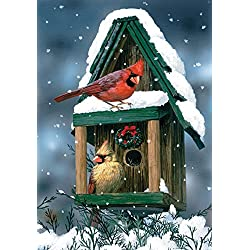 Toland Home Garden Cardinals In Snow 12.5 x 18 Inch Decorative Winter Bird Birdhouse Snowflake Garden Flag