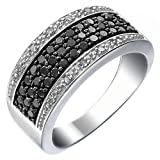 3/4 CT Black and White Diamond Ring in Sterling Silver Size 6