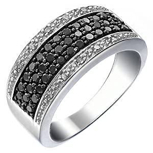 Vir Jewels Sterling Silver Black and White Diamond Ring (3/4 CT) In Size 6