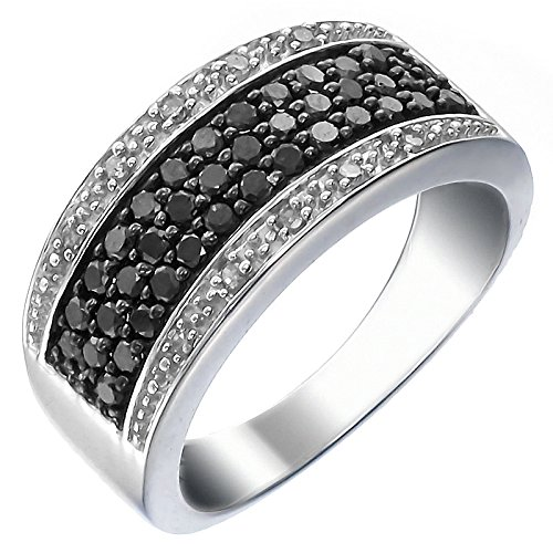 Vir Jewels Women's Silver and Diamond Ring (3/4 CT), Black, Size 7