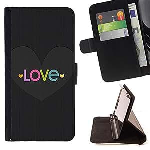 Ihec-Tech / Negro Flip PU Cuero Cover Case para HTC One M7 - Corazón Texto Dios cristiano metal gris