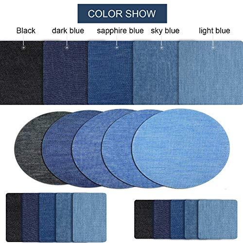 VGOODALL Patches Zum Aufbügeln, 32 Stück 4 Farben Patches Flicken zum Aufbügeln Denim Aufbügelflicken für Jeans, DIY Taschen mit Nähzeug