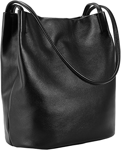 [Iswee Leather Totes Fashion Shoulder Bag Handbags and Purses for Women (Black)] (Double Shoulder Tote)