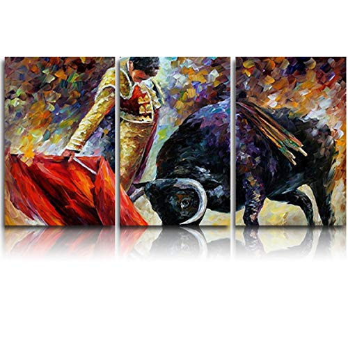 3 Panel Canvas Wall Art Spanish Bullfight Matador with Red Cloth Pictures Home Wall Decorations for Bedroom Living Room Oil Paintings Canvas Prints Framed - Matador Art Poster