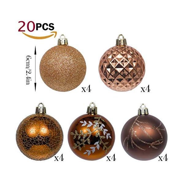 Valery Madelyn Palle di Natale 20 Pezzi 6cm Palline di Natale, Rame da Bosco e Oro Infrangibile Palla di Natale Ornamenti Decorazione per la Decorazione Dell'Albero di Natale 3 spesavip