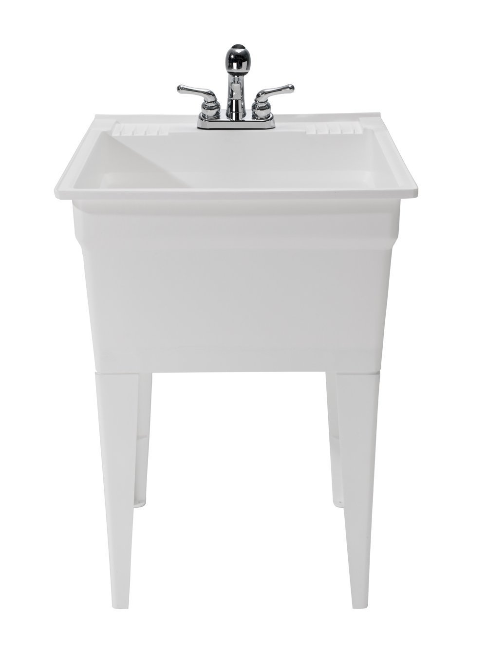 CASHEL Heavy Duty Free-Standing Utility and Laundry Sink - Fully Loaded Sink Kit, 1960-32-01, White