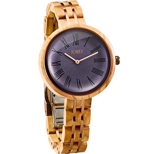 Aegean Olive - JORD Wooden Wrist Watches for Women - Cassia Series / Wood and Metal Watch Band / Wood Bezel / Analog Quartz Movement - Includes Wood Watch Box (Olive & Aegean Blue)