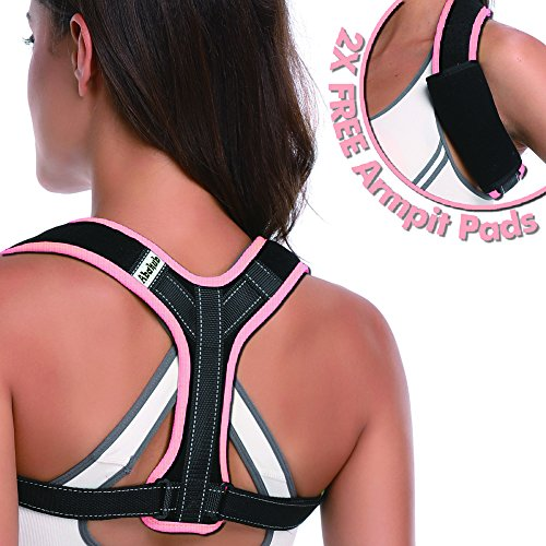 Upper Back Posture Corrector Support by Abahub, Adjustable Clavicle & Shoulder Strap for Slouching & Hunching, Effective and Comfortable Figure 8 Brace, Pink L 38''-48'' by ABAHUB