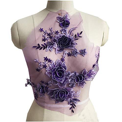 (Sequins 3D Flowers DI Patch Lace Applique Sew On Patches Floral Patch Costume for Wedding Dress Decoration 1 Pcs (Purple))