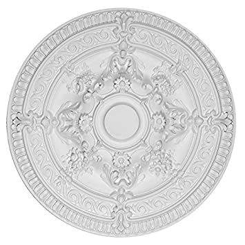 Ceiling medallion white scroll rose round shape 26 inch diameter ceiling medallion white scroll rose round shape 26 inch diameter chandelier light art decor aloadofball Image collections