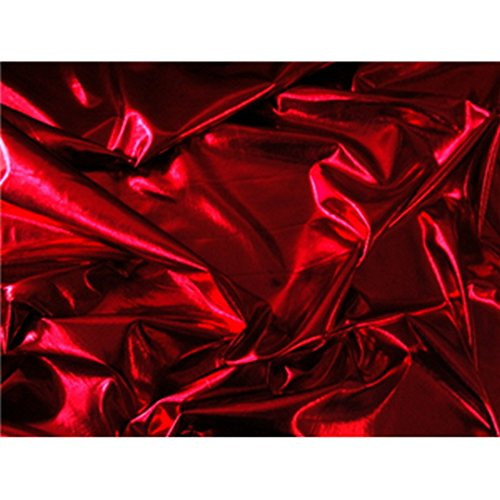 - 4 Way Stretch Lame Metallic Spandex Lycra Fabric (Red)