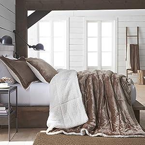 Vellux Plush/Sherpa Comforter Set, Full/Queen, Caramel, 3 Piece