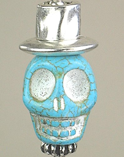 Large Turquoise Howlite Stone Skull Rear View Mirror Car Ornament Charm