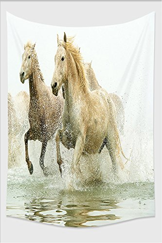 Nalahome-Animal Decor Camargue Horses in the Water Ancient Oldest Breed in Southern France Origin Artful Photo White Beige Tapestry Wall Hanging Wall Tapestries 59L x 51.1W Inches