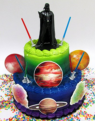 Cake Toppers Star Wars Darth Vader Welcome to The Dark Side Birthday Set Featuring Darth Vader Figure and Decorative Themed Accessories -