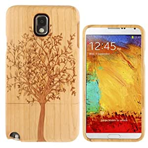 Generic Woodcarving Tree Pattern Detachable Pinevood Material Case for Samsung Galaxy Note 3 / N9000