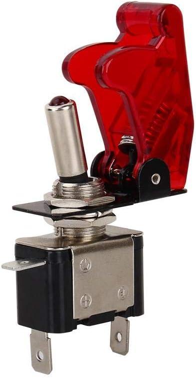 Qiilu Rocker Toggle Switch 12V 20A Car SPST ON//OFF LED Dome Fog Light Rocker Toggle Switch with Red Cover