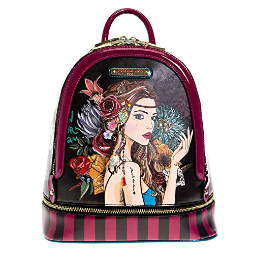 Dual Compartments Bohemian Design Backpack With Adjustable Backpack Straps (Nicole Lee Handbags And Purses)