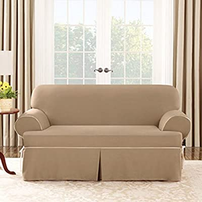 Sure Fit Cotton Duck T-Cushion Sofa Cover