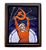 Soviet Propaganda Space Age Cigarette Case Wallet Business Card Case USSR