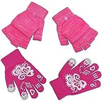 N'Ice Caps Girls Glow in the Dark Magic Stretch Winter Gloves 2 Pair Pack