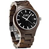 JORD Wooden Wrist Watches for Men or Women - Fieldcrest Series / Wood Watch Band / Wood Bezel / Analog Quartz Movement - Includes Wood Watch Box (Dark Sandalwood & Jet Black)