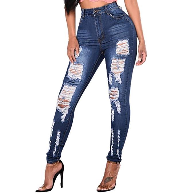 BHYDRY Moda Mujer Pantalones Vaqueros elásticos Mediados de ...