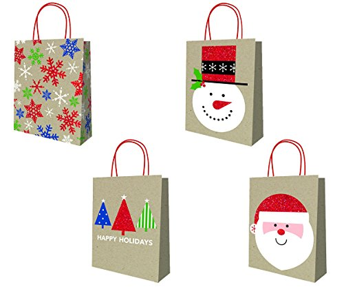- Christmas Holiday Rustic Country Kraft Gift Bags with Glitter Accents, Multicolor, Brown, Red, Green, Blue, Santa, Snowman, Snowflakes, Trees, Assorted 4 Pack, Medium, 12.5