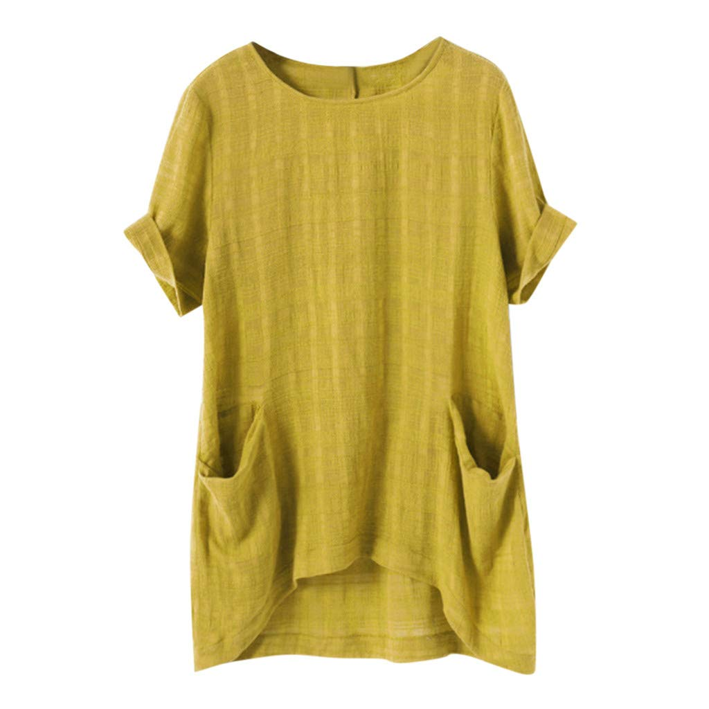 Sanyyanlsy Women's Linen Pocket Irregular Blouse Shirt Solid Color Short Sleeve Loose T-Shirt Vest Casual Tank Tops Yellow by Sanyyanlsy