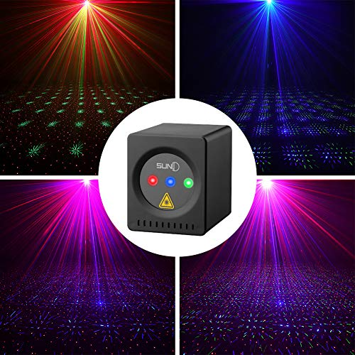 SUNY Mini Portable Cordless Laser Lights Rechargeable RGB Stars Patterns Gobo Projector Sound Activated Music DJ Party Lights for Outdoor Travel Camping Disco Live Show Home Dance ()