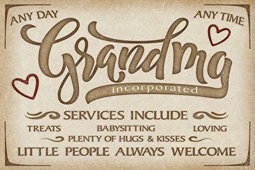Grandma Services Vintage Wall Decor w/ Funny Quote, Unique Metal Wall Decor for Home, Diner, or Kitchen 12
