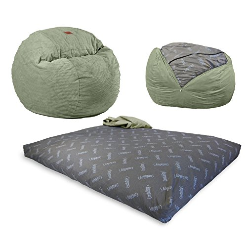CordaRoy's Chenille Bean Bag Chair, Convertible Chair Folds from Bean Bag to Bed, As Seen on Shark Tank - Moss, Full ()