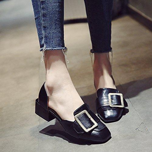 Negrita Femenino SHOESHAOGE Baotou con Broches Metal Sra Eu37 EU37 De Sandalias Estilo La Heeled con High Zapatos tBAXqB