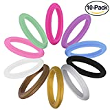 Fynix Silicone Wedding Ring for Women, 10 Pack Premium Medical Grade Wedding Bands Thin and Stackable Durable Comfortable Antibacterial Rubber Rings, Black White Pink Silver, Made by