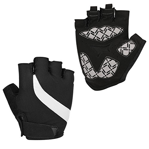 Huade Cycling Gloves Half Finger Anti-slip Silicone Gel Pad Shock-absorbing Breathable Mountain Riding Gloves Adjustable (Black,XL) - Unisex Ultra Riding Gloves