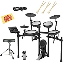 Roland TD-17KV Electronic Drum Set Bundle with Drum Throne, 3 Pairs of Sticks, Audio Cable, and Austin Bazaar Polishing Cloth