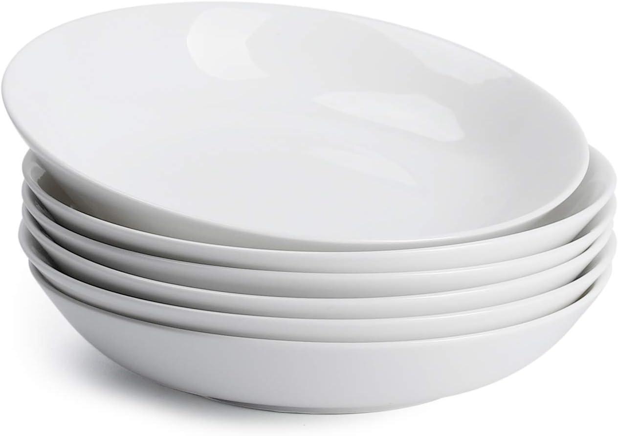 Teocera 22 Ounce Porcelain Pasta Bowls, Salad Bowls Set, Shallow Bowls - Set of 6, White