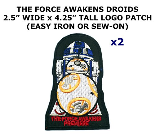 2 PCS The Force Awakens R2-D2 and BB-8 Droids Star Wars Theme DIY Iron / Sew-on Decorative Applique (Bb8 Costume Diy)