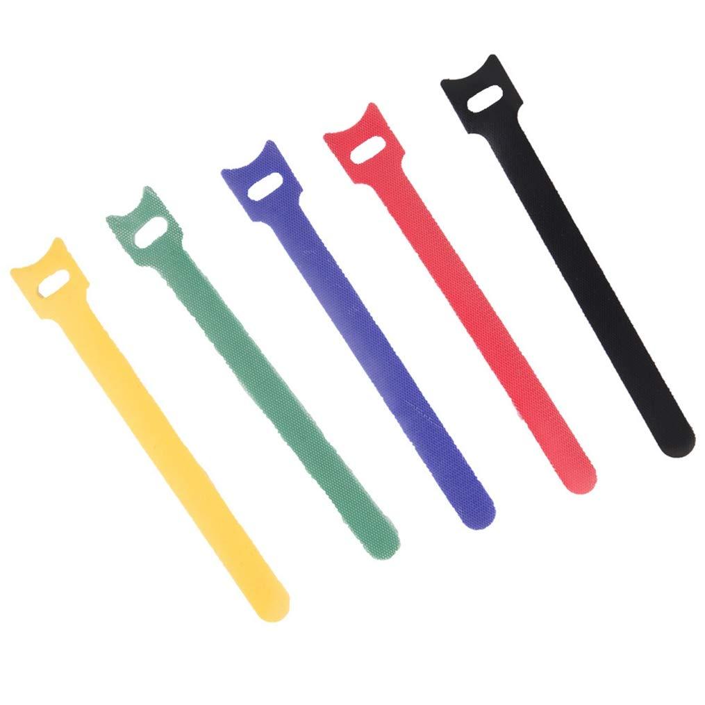 Hooks and Loops マジックテープ 10本 12x120mm 再利用可能 ケーブルタイ ワイヤリング ハーネス コード 粘着ファスナー MS0004  Mix 10 Piece B07GLRGSRF