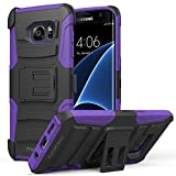 Galaxy S7 Edge Case, MoKo Shock Absorbing Hard Cover Ultra Protective Heavy Duty Case with Holster Belt Clip + Built-in Kickstand for Samsung Galaxy S7 Edge 5.5 Inch - Purple (NOT FIT Galaxy S7)