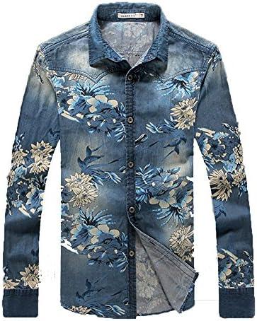 デニムシャツ 洗練された 存在感あり 薄手 サマー カジュアル 長袖 お洒落 花柄 大きいサイズ かっこいい ブルゾン Gジャン 上質 春 夏 秋
